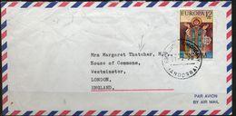 1978 , ANDORRA ESPAÑOLA ,  ANDORRA LA VIEJA - HAMBURGO , ED. 98 , TEMA EUROPA , ENVIADO A MARGARET THATCHER , LLEGADA - Lettres & Documents