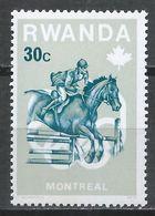 Rwanda 1976. Scott #739 (MNH) Olympic Games Montréal, Steeplechase, Horses * - Rwanda