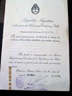ARGENTINA 1961  Triptyque MILITARY OFFICIEL PASSPORT - PASSEPORT - Big Size 25 X 16,5 Cm - Documentos Históricos