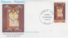 Enveloppe  FDC  1er  Jour   POLYNESIE   Légendes  Polynésiennes   1990 - FDC