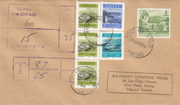 Trinidad & Tobago Pictorial Used On Underpaid Cover To Jersey With Postage Due  3 X 20p + 10p +5p - Trinité & Tobago (1962-...)