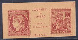 Vignette  Journee Du Timbre 1938 Orleans Jeanne D'arc - Philatelic Fairs