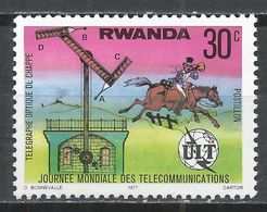 Rwanda 1977. Scott #810 (MNH) Chappe's Optical Telegraph, ITU Emblem * - 1970-79: Ongebruikt