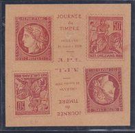 Bloc Tete Beche Vignette  Journee Du Timbre 1938 Orleans Jeanne D'arc - Philatelic Fairs