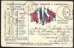 CM 129  Correspondance Militaire Du 24-09-16 Cachet Trésor Et Postes Simple Cercle N°(SP)117 13ème Division D'Infanterie - Marcophilie (Lettres)