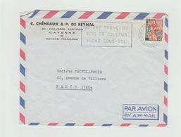 """LSC 1963 - Entête CAYENNE Et  Flamme  """"Guyane Française Bois De Couleur Riche Sous Sol """" - Mechanische Stempels (reclame)"""