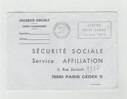 "LSC 1974 - Cachet Rennes Gare Et Flamme   ""LIFFRE Foire Canine 19 Mai 1974"" - Maschinenstempel (Werbestempel)"