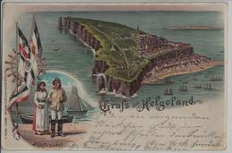 Gruss Aus Helgoland - Helgoländer, Insel - Lithographie Litho - Helgoland