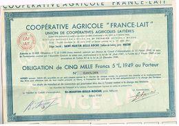 """Obligation Ancienne - Coopérative Agricole """"France-Lait"""" - Titre De 1949 - Industrie"""