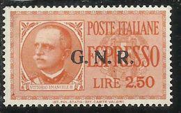 ITALIA REGNO ITALY KINGDOM 1943 1944 REPUBBLICA SOCIALE RSI ESPRESSO SPECIAL DELIVERY GNR LIRE 2,50 MNH FIRMATO SIGNED - 4. 1944-45 Repubblica Sociale