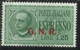 ITALIA REGNO ITALY KINGDOM 1943 1944 REPUBBLICA SOCIALE RSI ESPRESSO SPECIAL DELIVERY GNR LIRE 1,25 MNH FIRMATO SIGNED - 4. 1944-45 Repubblica Sociale