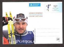 Estonia 2001 MNH Postal Stationary Card # 8  Andrus Veerpalu Skiing World Champion - Estland