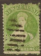 NZ 1864 FFQ 1/- Green SG 124 U #AID143 - 1855-1907 Crown Colony