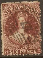 NZ 1864 FFQ 6d Red-brown SG 122 U #AID136 - Usados
