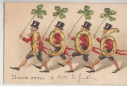 BONNE ANNEE   1906     CARTE GAUFFREE  ET DOREE - Nouvel An