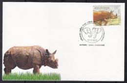 India 2015  Rhinoceros   Elephants Cancellation  Ahmedabad  Cover #  09408   D  Inde Indien - Rhinozerosse