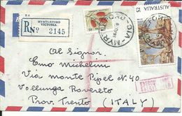 AUS002 - AUSTRALIA -LETTERA RACCOMANDATA DA MYRTLEFORD A ROVERETO 1976 - N. 577+532 CAT. YVERT - 1952-65 Elizabeth II: IEmissione Prima Decimali