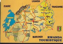 RWANDA - CARTINA DEL PAESE -VIAGGIATA 1992 FRANCOBOLLO ASPORTATO - Rwanda