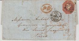 Grande Bretagne N°6 Sur Lettre De 1853 Pour La France - Covers & Documents
