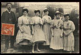 Villeneuve-sur-Lot - Fêtes Présidentielles, 3 Octobre 1907 - Groupe Des Jeunes Filles Qui Ont Offert Une Gerbe - Villeneuve Sur Lot