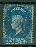 Ceylon: 1867/70   QV   SG63b    1d   Deep Blue   Used - Ceylon (...-1947)