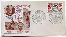 75 - PARIS - Cinquantenaire Du Tour De France Cycliste - 2 Enveloppes - 1953 - Voir Scan RV - Marcofilie (Brieven)