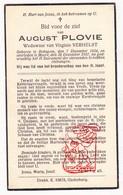 DP August Plovie ° Bekegem Ichtegem 1854 † Moere Gistel 1937 X V. Verhelst - Devotion Images