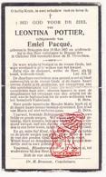 DP Leontina Pottier ° Bekegem Ichtegem 1897 † Brugge 1934 X E. Pacqué - Devotion Images