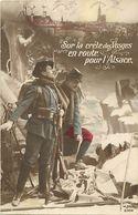 - Themes - Ref-A442- Guerre 1914-18- Patriotique -crête Des Vosges-  En Route Pour L Alsace - Chasseur Alpin - Drapeau - - Patriotiques
