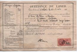 Quittance De Loyer /Reçu/Timbre Fiscal 1,20 Franc/ PANTIN/ 1941                          QUIT1 - Unclassified