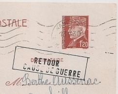 RETOUR CAUSE DE GUERRE NANCY R.P. Meurthe Et Moselle Pour Castres Tarn. ACHEMINEMENT IMPOSSIBLE. - Marcophilie (Lettres)