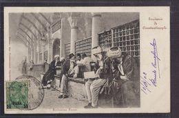 CPA TURQUIE - Souvenir De CONSTANTINOPLE - Ecrivains Turcs - TB ANIMATION TB Oblitération 1902 IMPRIME AU DOS - Turquie