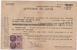 Quittance De Loyer /Reçu/Timbre Fiscal 60 C Et 60 C / Boulogne/ 1941                        QUIT4 - Unclassified