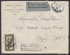 """PA N° 10 Sur Lettre Par Avion Oblit. CAD """" Hanoï R.P 06/11/33 Tonkin """" Pour Paris - Indochine (1889-1945)"""