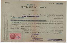 Quittance De Loyer /Reçu/Timbre Fiscal 1,20 Franc / Boulogne-Billancourt/ 1942                        QUIT5 - Unclassified