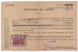 Quittance De Loyer /Reçu/Timbre Fiscal 1,20 Franc / Boulogne-Billancourt/ 1942                        QUIT7 - Unclassified