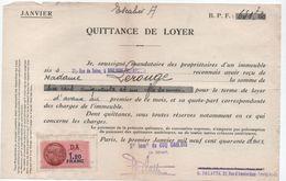 Quittance De Loyer /Reçu/Timbre Fiscal 1,20 Franc / Boulogne-Billancourt/ 1942                        QUIT8 - Unclassified