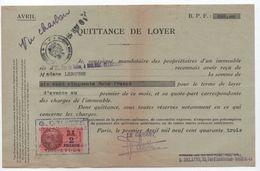 Quittance De Loyer /Reçu/Timbre Fiscal 2 Francs / Boulogne-Billancourt/ 1943                        QUIT9 - Unclassified