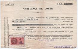Quittance De Loyer /Reçu/Timbre Fiscal 1,20 Francs / Boulogne-Billancourt/ 1943                        QUIT10 - Unclassified