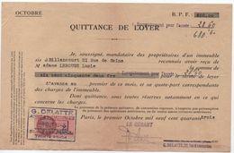 Quittance De Loyer /Reçu/Timbre Fiscal 2 Francs / Boulogne-Billancourt/ 1943                        QUIT11 - Unclassified