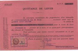 Quittance De Loyer /Reçu/Timbre Fiscal 2 Francs / Boulogne-Billancourt/ 1943                        QUIT12 - Unclassified