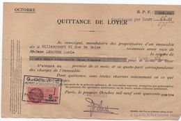 Quittance De Loyer /Reçu/Timbre Fiscal 2 Francs / Boulogne-Billancourt/ 1944                        QUIT13 - Unclassified