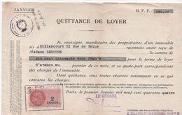 Quittance De Loyer /Reçu/Timbre Fiscal 2 Francs / Boulogne-Billancourt/ 1944                        QUIT14 - Unclassified