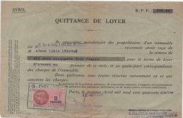 Quittance De Loyer /Reçu/Timbre Fiscal 2 Francs / Boulogne-Billancourt/ 1944                        QUIT15 - Unclassified