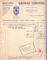38 BOURGOIN Isère FACTURE 1948 Garage Central  Agence BERLIET GAYET & LEVIS   A38 - 1900 – 1949