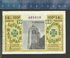 NATIONALE LOTERIJ - LOTERIE NATIONALE 1964 NEDERBRAKEL - Billets De Loterie