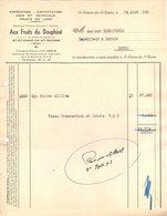 38 ST ETIENNE DE SAINT GEOIRS  Isère FACTURE1949 Fruits  Noix Cerneaux Aux Fruits Du Dauphiné     A38 - 1900 – 1949