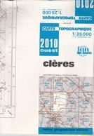 CARTE IGN Au 1/25000  CLERES  2010 EST - Topographical Maps