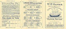 Ref W264- Publicité 3 Volets - Ets Oliver -banyuls Sur Mer -alcool - Vin -banyuls Et Agly - Carte 3 Volets Bon Etat - - Banyuls Sur Mer