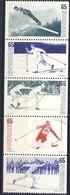 +Sweden 1974. Sport. Skiing. Stripe Of 5. Michel 836-40. MNH(**) - Sweden